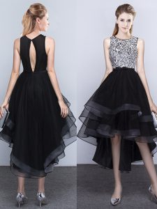 Affordable Black Tulle Backless Scoop Sleeveless High Low Graduation Dresses Beading