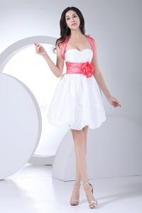Mini-length White Graduation Dresses with Hand Flowers and Bowknot