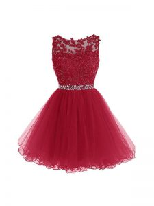 Burgundy A-line Beading and Lace and Appliques Graduation Dresses Zipper Organza Sleeveless Mini Length