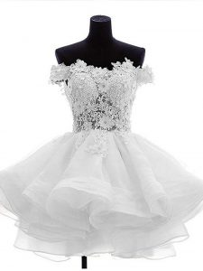 Beauteous Off The Shoulder Sleeveless Graduation Dresses Mini Length Beading and Lace and Ruffles White Organza