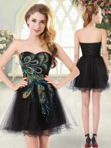 Sweetheart Sleeveless Tulle Graduation Dresses Beading and Appliques Lace Up
