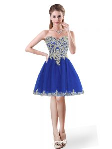 Sleeveless Tulle Mini Length Lace Up Graduation Dresses in Royal Blue with Beading and Appliques