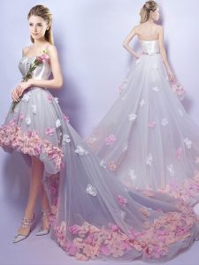 Glorious Grey Tulle Lace Up Graduation Dresses Sleeveless High Low Appliques