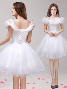 Off the Shoulder Tulle Sleeveless Knee Length Graduation Dresses and Appliques and Ruffles