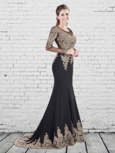 Sexy Mermaid Scoop Black Long Sleeves With Train Appliques Lace Up Graduation Dresses